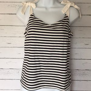 J. Crew Navy Blue and White Tank Top
